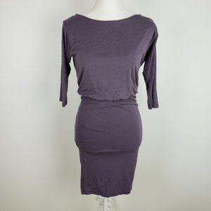LULUs Purple Dress Open Back 3/4 Sleeves